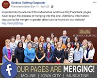 Sedona Staffing Facebook Page Merger